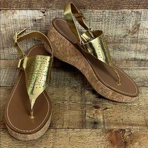 Tory Burch Daniela gold cork wedge sandals SZ 7.5